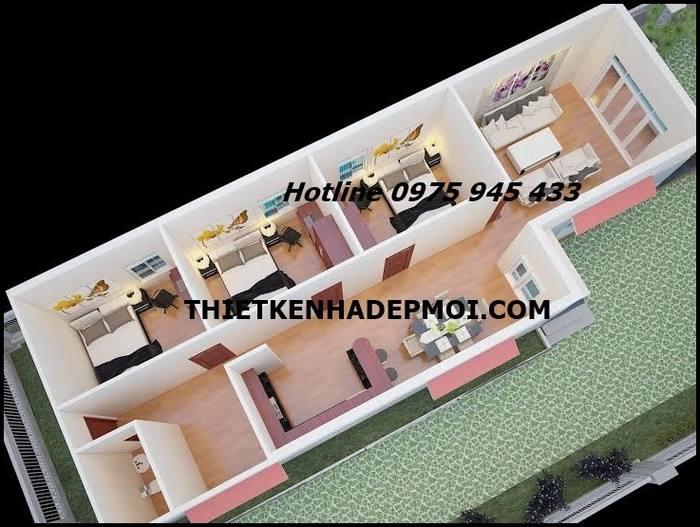 Mặt bằng 3D nhà cấp 4 mái thái 6x20