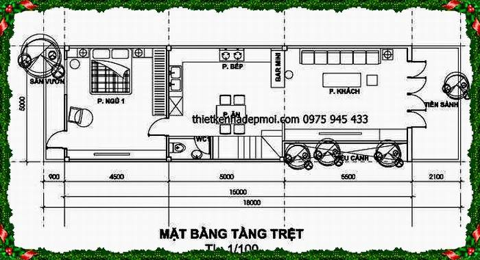 Mặt bằng xây nhà diện tích 5x18m tại Đà Nẵng