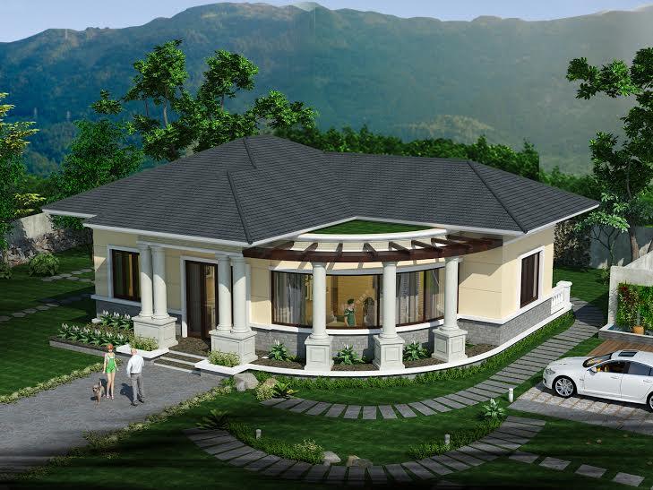 Mẫu thiết kế nhà biệt thự trệt, Mẫu thiết kế nhà biệt thự trệt 3 phòng ngủ mái thái tuyệt đẹp, Công ty thiết kế xây dựng Nhà Đẹp Mới, Công ty thiết kế xây dựng Nhà Đẹp Mới