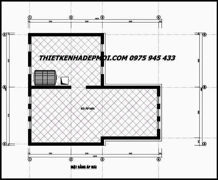 Bản vẽ mái nhà biệt thự 2 tầng mái lệch 90m2