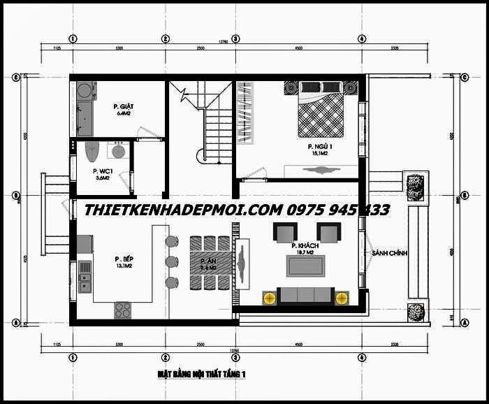 Mặt bằng nhà vườn mini 90m2 2 tầng 9x10