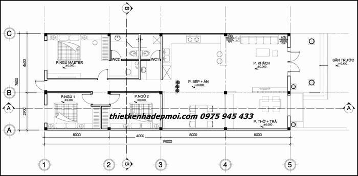 Bản vẽ thiết kế nhà cấp 4 ngang 7.5m