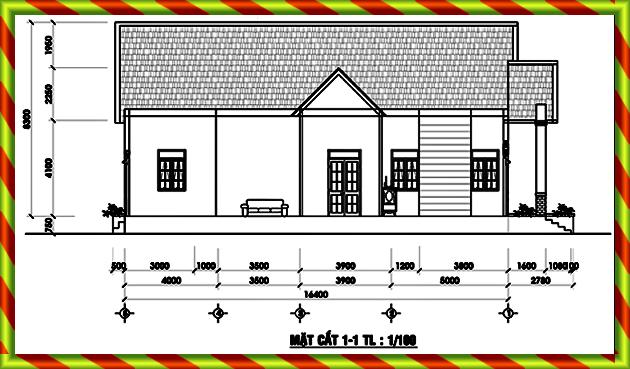Bản vẽ kỹ thuật thi công xây dựng nhà cấp 4 mái thái 8x16 ở quê