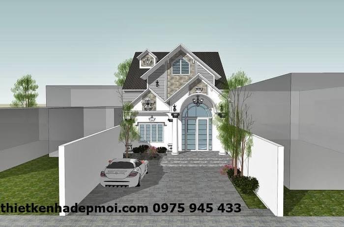 Mẫu thiết kế nhà ngang 8m mái thái kiểu Pháp