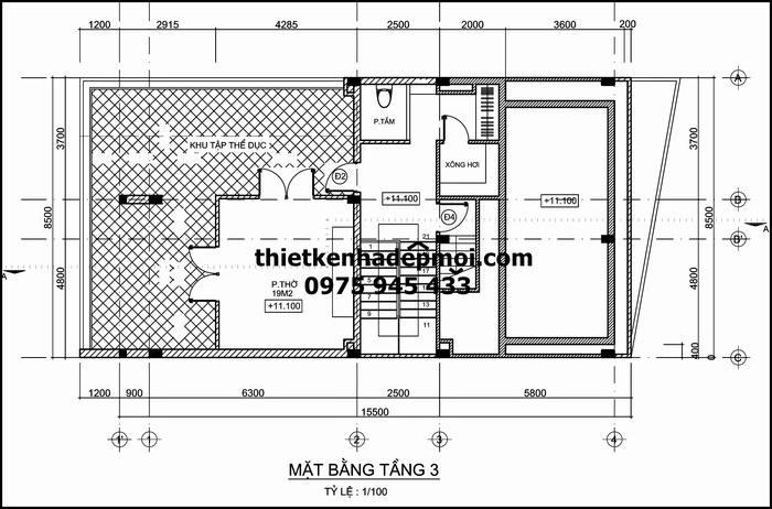 Thiết kế biệt thự 3 tầng có hồ bơi trên sân thượng