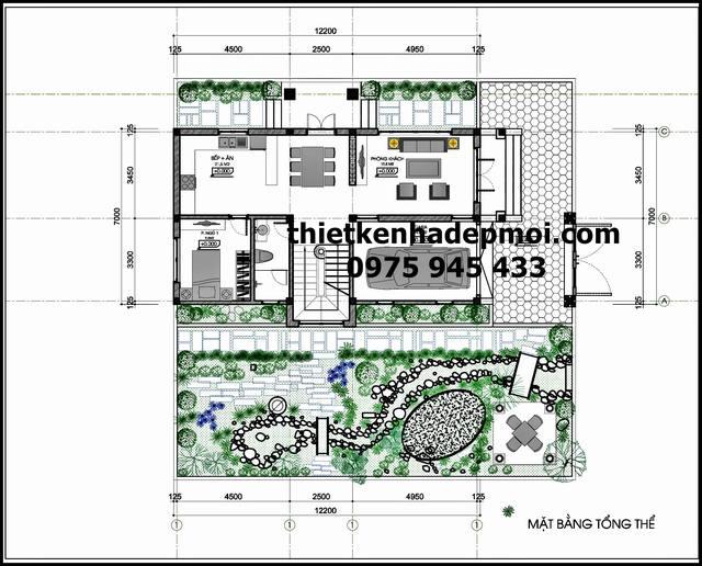 Bản vẽ thiết kế nhà 2 tầng 100m2