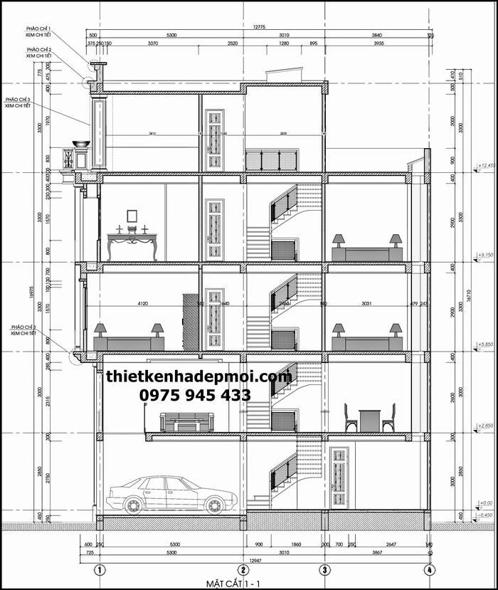 Bản vẽ nhà ống lệch tầng 3.5m x 12m