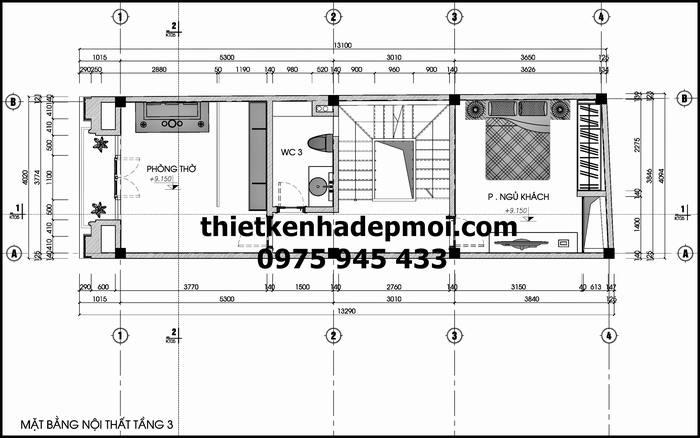 Thiết kế nhà ống 5 tầng 3.5x12m