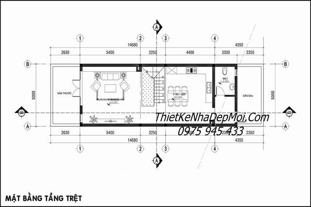 Bản vẽ tầng trệt cách bố trí các phòng đặt theo phong thủy chủ nhà