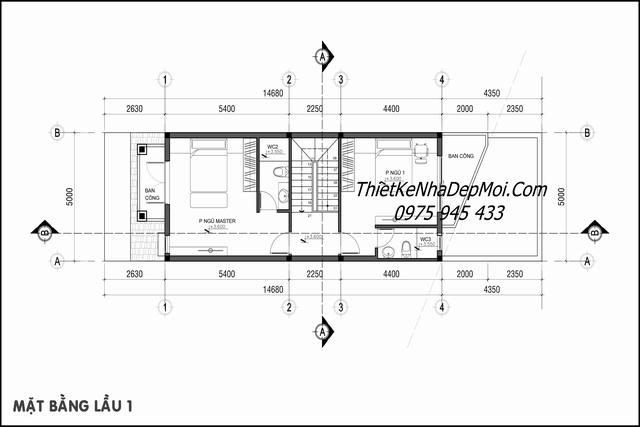 Mặt bằng tầng 2 nhà phố trệt 1 lầu 80m2 mái ngói