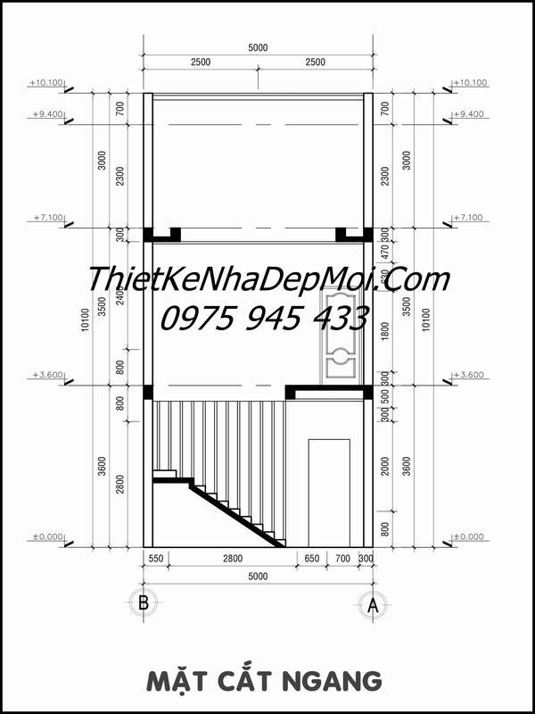 Bản vẽ thi công nhà 1 trệt 1 lầu mái ngói