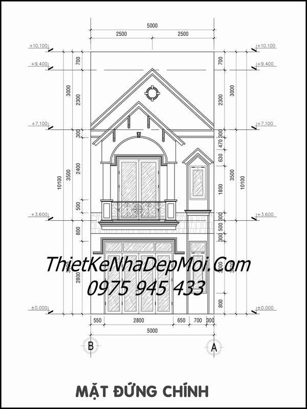 Bản vẽ thiết kế nhà 1 trệt 1 lầu 5x20 mái thái lợp ngói hiện đại