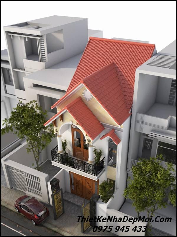 Phối cảnh góc nhìn nghiêng mẫu nhà 2 tầng mái thái 5x20 đẹp