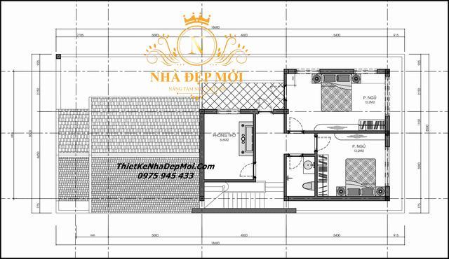 Bản vẽ nhà 1.5 tầng 3 phòng ngủ