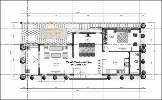 Thiết kế nhà 1 trệt 1 lửng 3 phòng ngủ