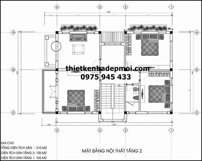 Bản vẽ nhà 2 tầng mái thái 8.5x15m