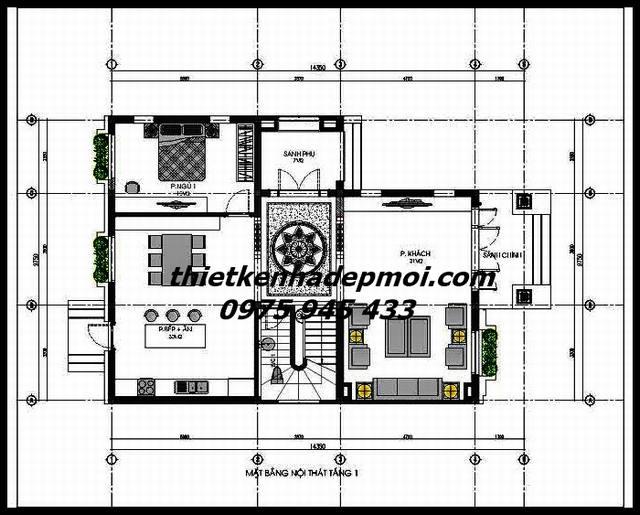 mặt bằng biệt thự 3 tầng 10x123 mái ngói đơn giản tầng trệt