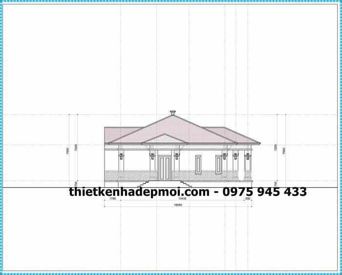 Mặt đứng trục mẫu biệt thự 1 tầng mái ngói