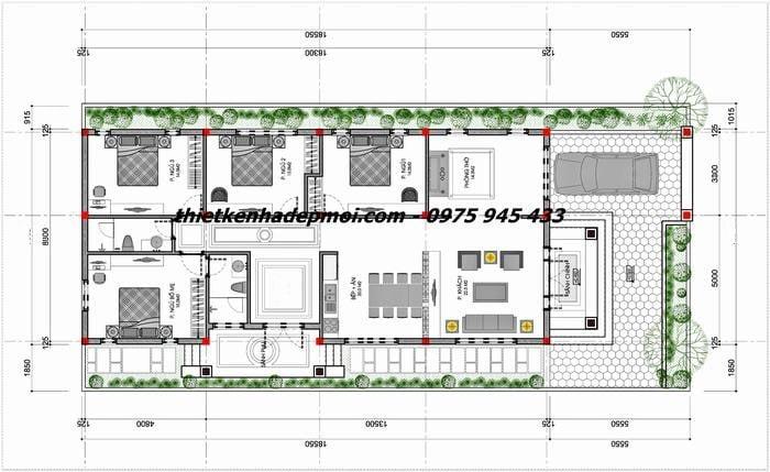 Bản vẽ nhà cấp 4 có 4 phòng ngủ chiều ngang 8m chiều sâu 20m hiện đại ở nông thôn mái lợp ngói diện tích 160m2