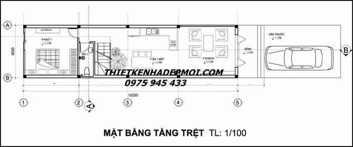 Bản vẽ thiết kế nhà ống 3 tầng 4x25
