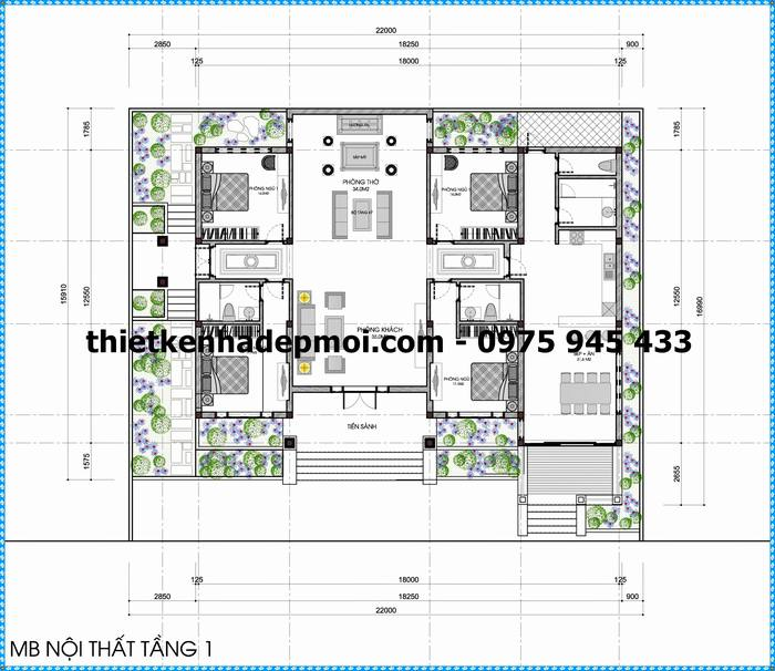 Mặt bằng thiết kế công năng sử dụng kích thước nhà biệt thự 1 tầng 18x12,5 anh huỳnh phú thọ