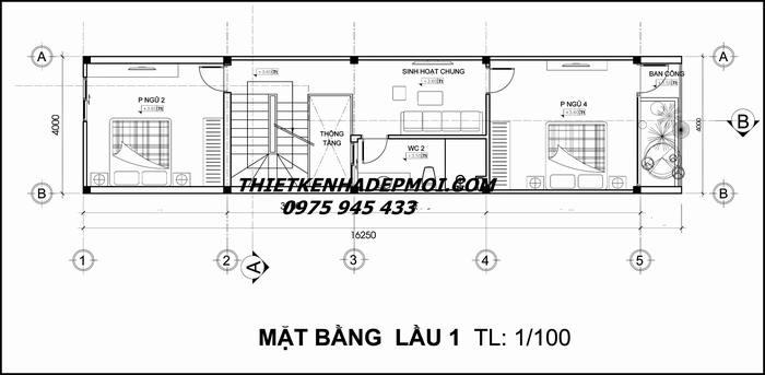 Bản vẽ thiết kế nhà phố 4x20 3 tầng