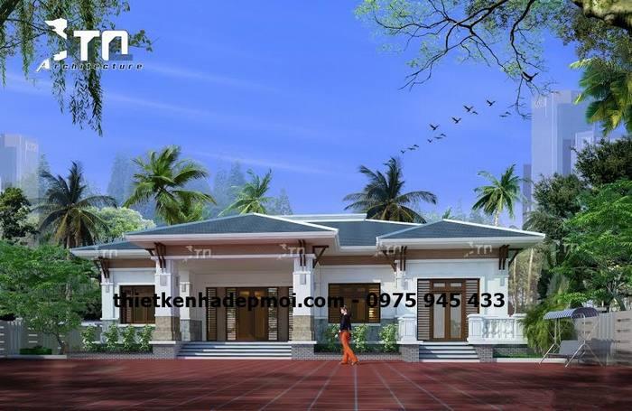 Hình ảnh nhà biệt thự trệt 1 tầng mái thái mô hình nhà ở cấp 4 5 gian mái ngói đẹp