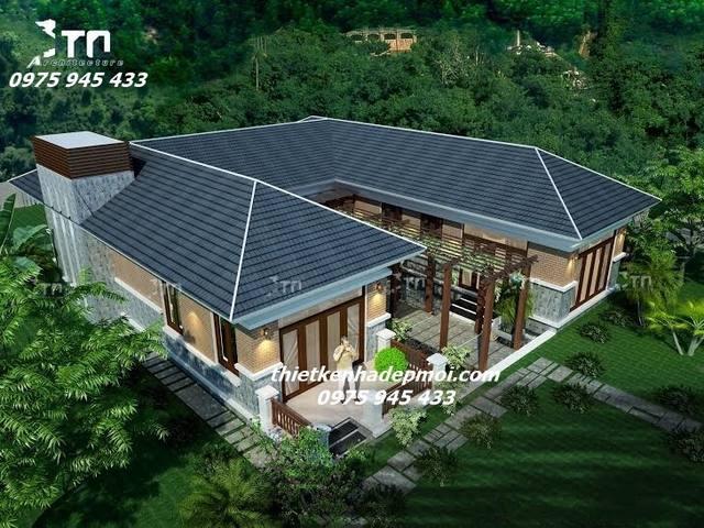 Hình ảnh biệt thự vườn nghỉ dưỡng hình chữ U mái ngói 1 tầng ở quê đẹp