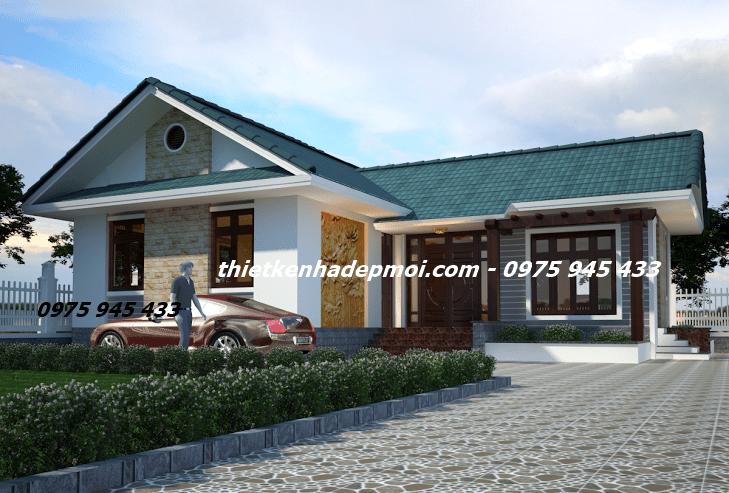 Hình ảnh 3D kiến trúc nhà chữ L 1 tầng kiểu thái ngang đẹp nhất mái lợp ngói hiện đại ở nông thôn