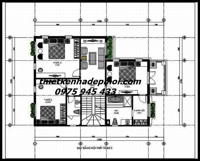 Mặt bằng kích thước nội thất nhà vườn biệt thự 1 trệt 2 lầu ở quê tầng 2