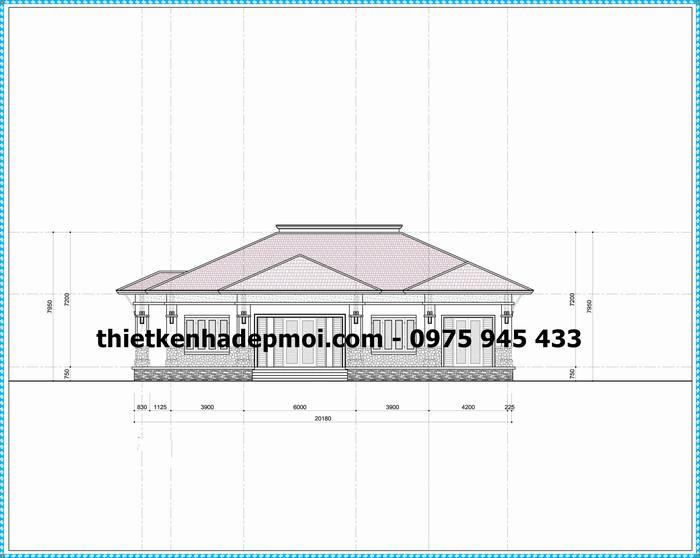 Bản vẽ trục đứng 02 thiết kế nhà vườn đẹp 1 tầng mái thái 220m2