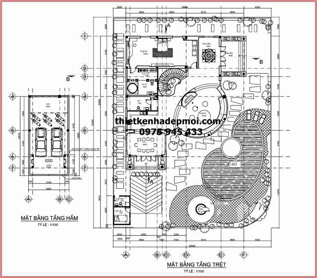 Mặt bằng quy hoạch tổng thể biệt thự hai mặt tiền có sân vườn gara hầm hồ bơi diện tích 855m2