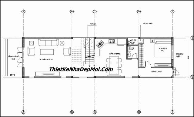 Mặt bằng nhà 2 tầng 5x20m