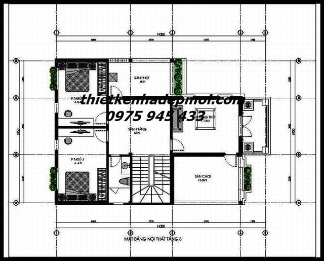 Mặt bằng nội thất tầng 3 biệt thự vườn 3 tầng mái thái nông thôn