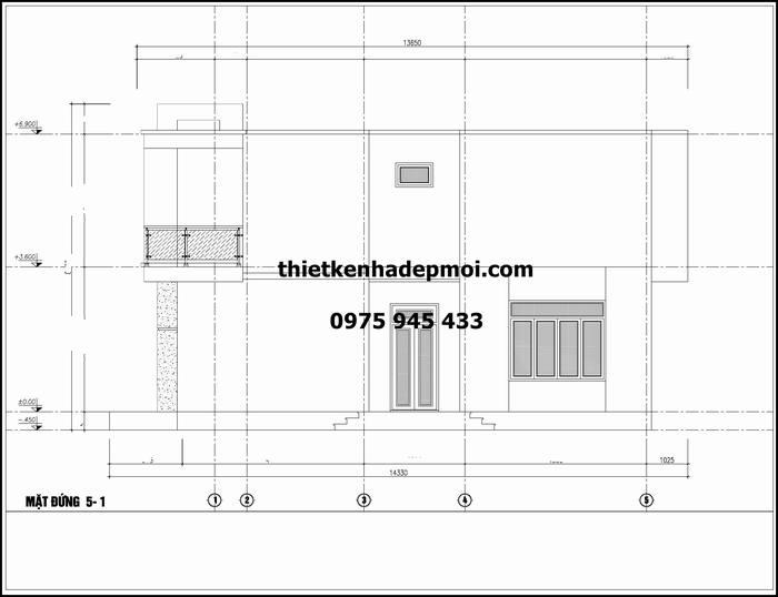 Mẫu thiết kế nhà phố 2 tầng chiều rộng ngang 7m mặt
