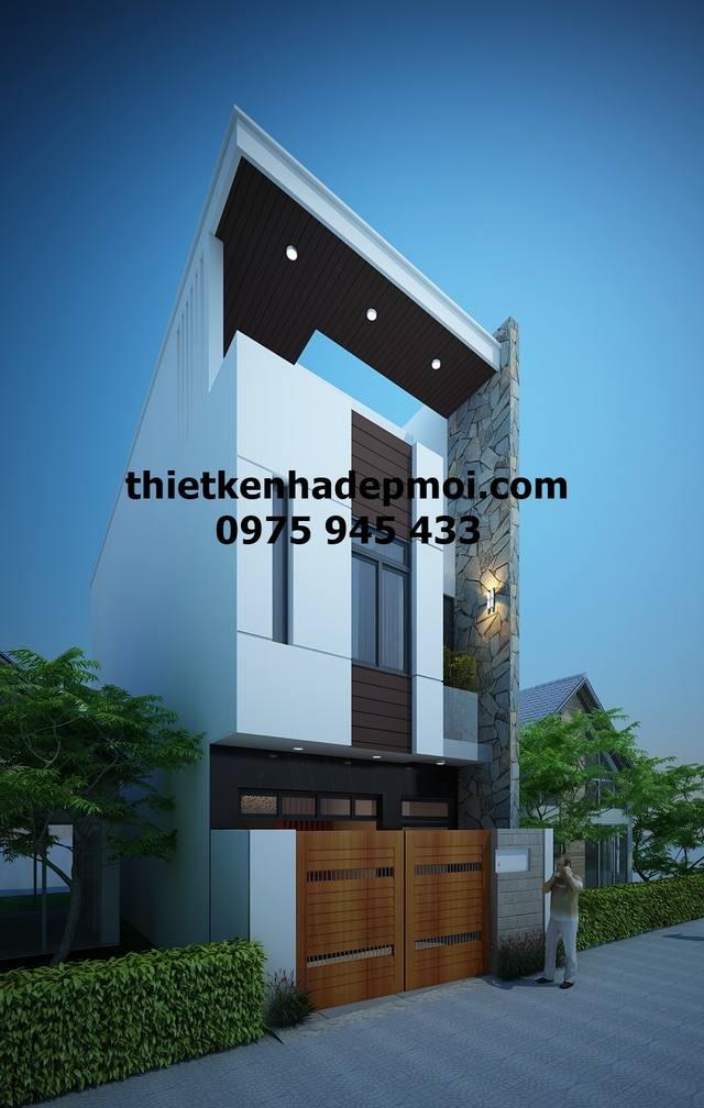 Bản vẽ thiết kế nhà ống 1 trệt 1 lầu 1 sân thượng diện tích 4.7x12,6 3 phòng ngủ phong cách hiện đại mặt tiền