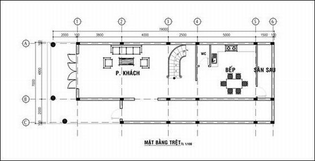 Bản vẽ nhà mặt tền 7m 3 tầng châu âu