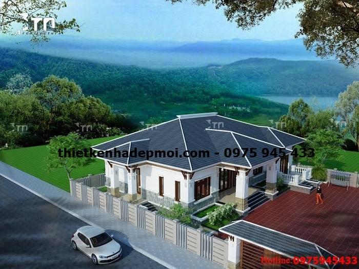 Mẫu biệt thự sân vườn mái thái 1 tầng 4 phòng ngủ đẹp ở nông thôn lợp ngói anh huỳnh