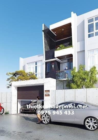Mẫu nhà ống lệch tầng hiện đại 1 trệt 2 lầu sân thượng đẹp thông gió lấy sáng bằng giếng trời và thông thoáng