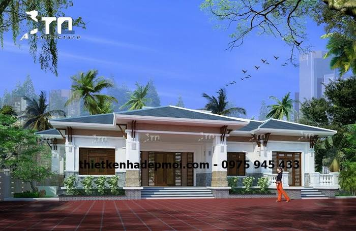 Mẫu nhà biệt thự sân vườn 5 gian mái ngói đẹp kiến trúc tinh tế hài hòa