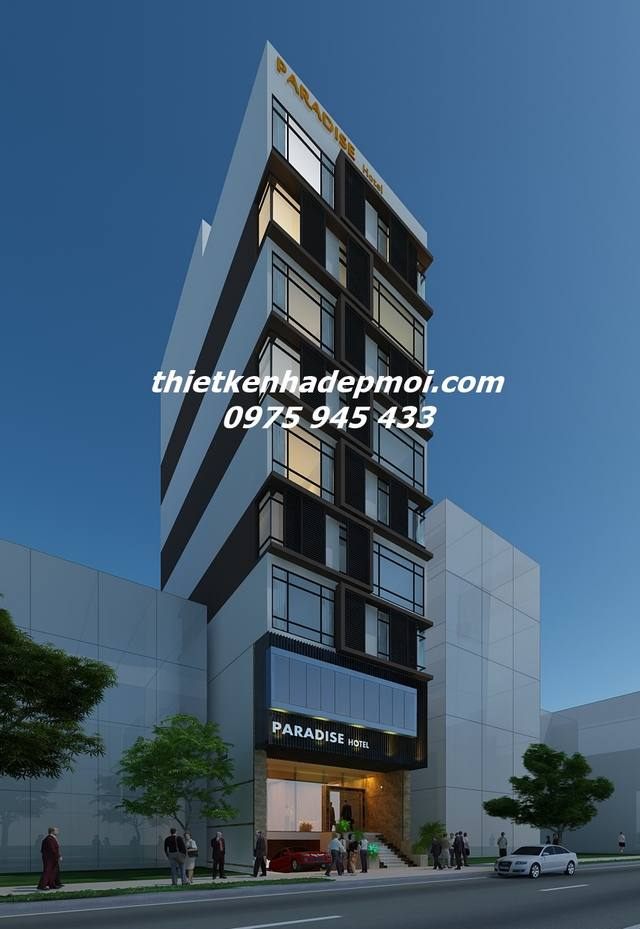 Phối cảnh 3D mẫu thiết kế khách sạn đẹp 9x20 cao 10 tầng tại Đà Nẵng