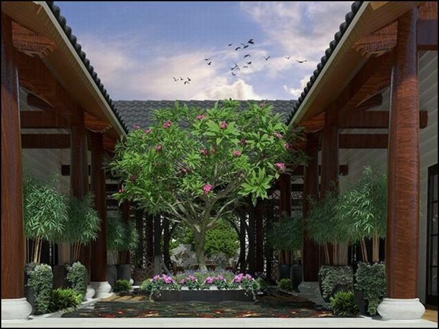 Nhà vườn 1 tầng hình chữ U