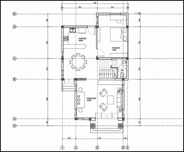Bản vẽ nhà gác lửng chữ L 7x16m