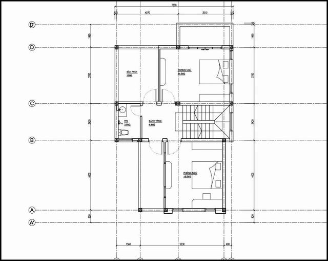 Mặt bằng nhà 1 tầng có gác lửng 3 phòng ngủ