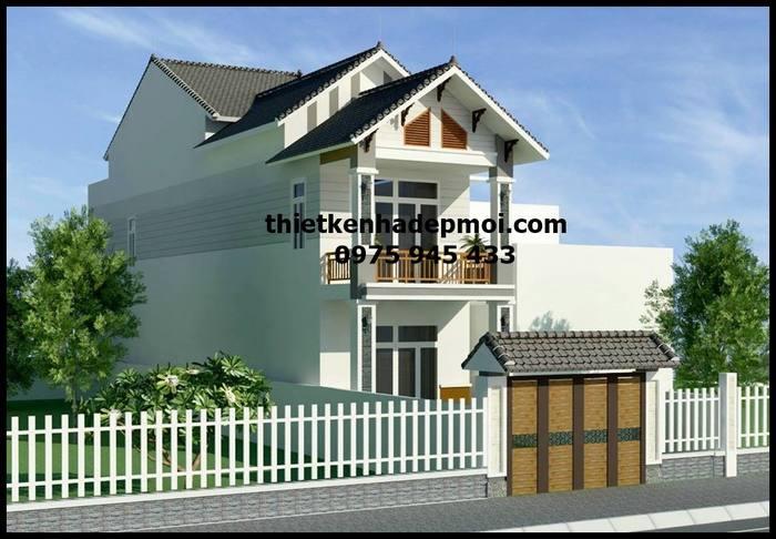 Nhà 2 tầng mái thái chữ L 6x20