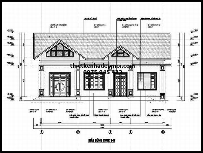 Kiến trúc xây dựng nhà cấp 4 mái ngói phía sau trục đứng 1-5