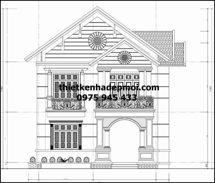 Bản vẽ nhà 2 tầng 4 phòng ngủ