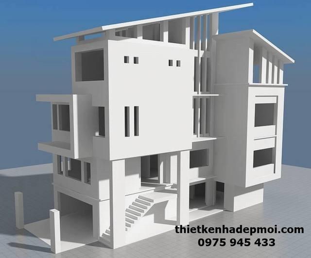 Thiết kế biệt thự phố mặt tiền 8m kiểu song lập hiện đại