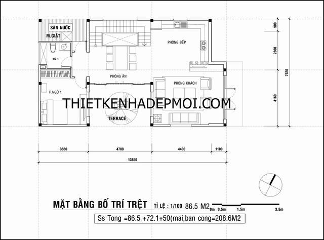 Bản vẽ mặt bằng kích thước nội thất tầng trệt nhà 2 tầng giá rẻ ở quê