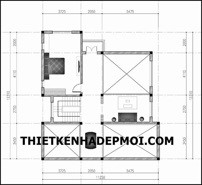 Bản vẽ mặt bằng tầng lửng nhà cấp 4 mái lệch hiện đại diện tích 120m2